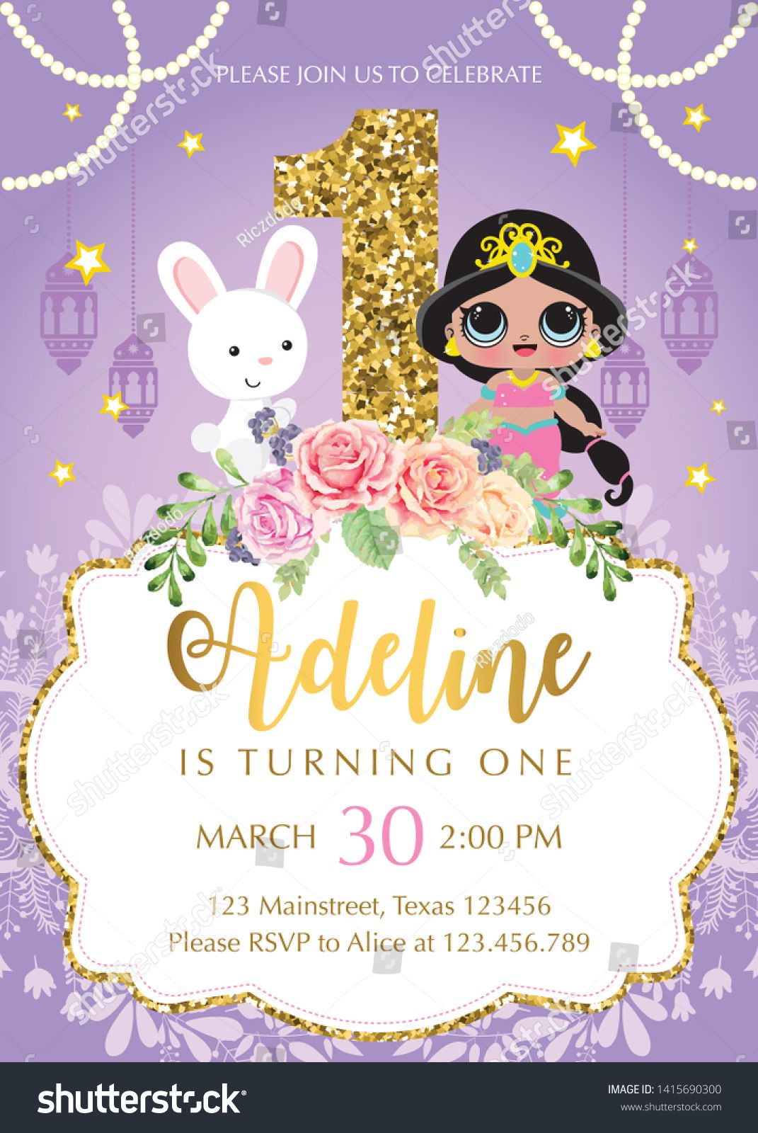 Invitation Card Template Princess Jasmine Lol Lolparty