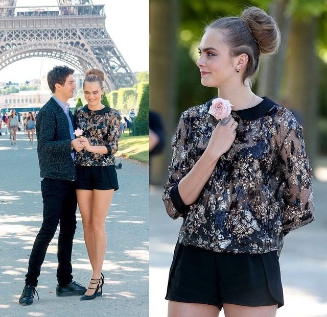 Cara Delevingne And Nat Wolf In Paris For Paper Towns Press