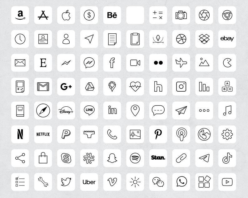 90 Minimalist White Aesthetic iOS 14 App Icons / Social Media icons iOS14 / iPhone Icon App Pack / M