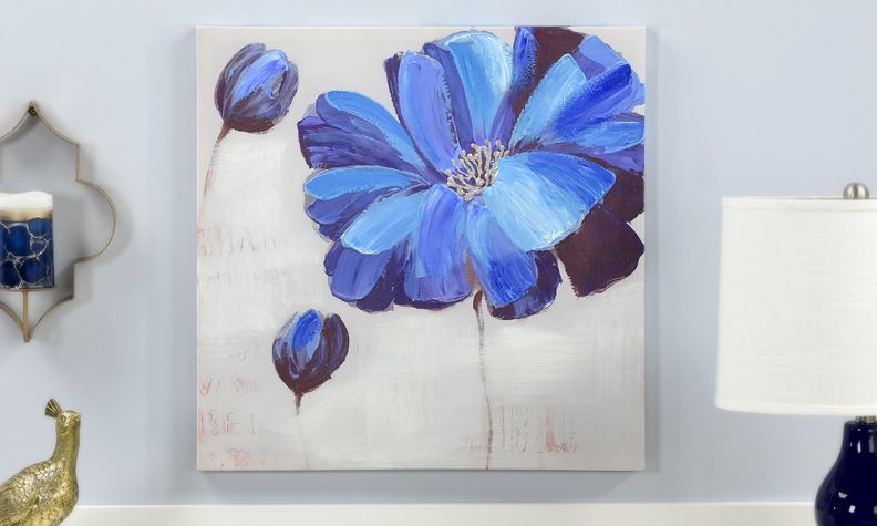 Giftcraft Oil Painting On Canvas Wall Decor Blue Flower Painting Flower Canvas Wall Art Canvas Wall Art Contemporary