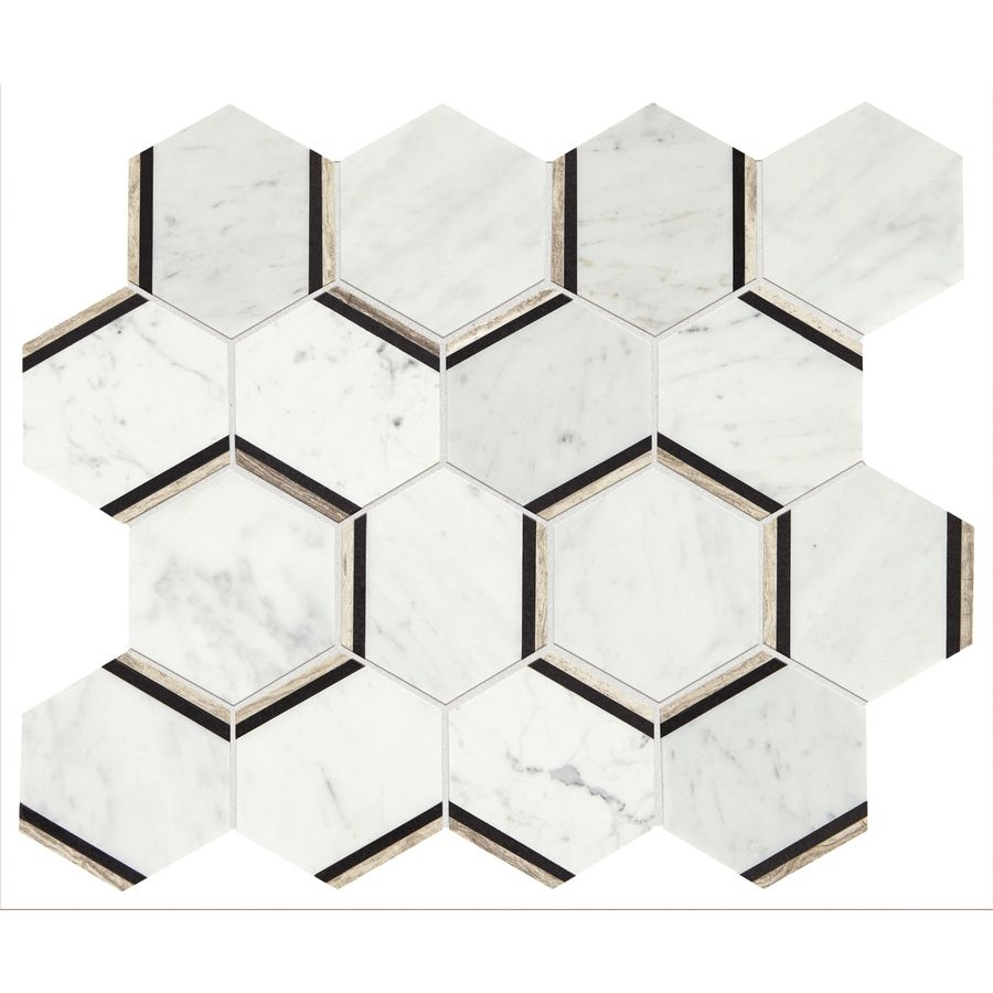 Shop American Olean Genuine Stone Carrara Honeycomb Mosaic Marble Floor And Wall Tile Common 12 In X 15 Actual