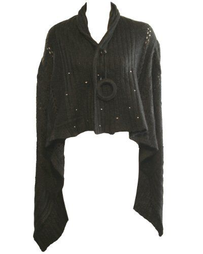 Ladies Dark Gray Short Sleeve Sweater Cardigan with Silver Dot ...
