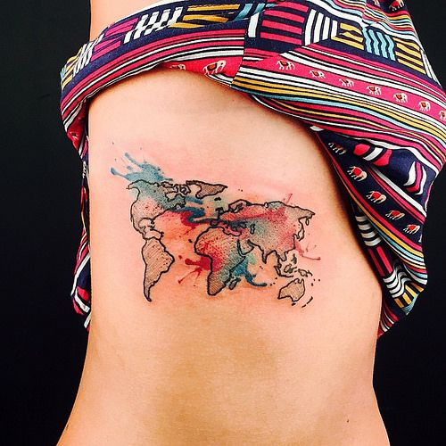 Tattoo today everyday wynwood watercolortattoo watercolor life abstract world map tattoo google search gumiabroncs Gallery