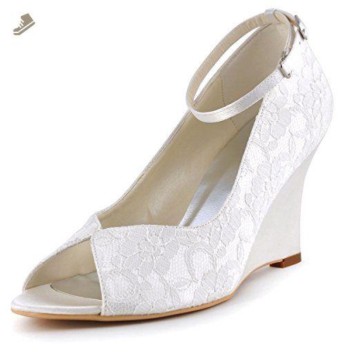 elegantpark wp1415 women peep toe pumps high heel wedges ankle strap lace wedding bridal shoes ivory