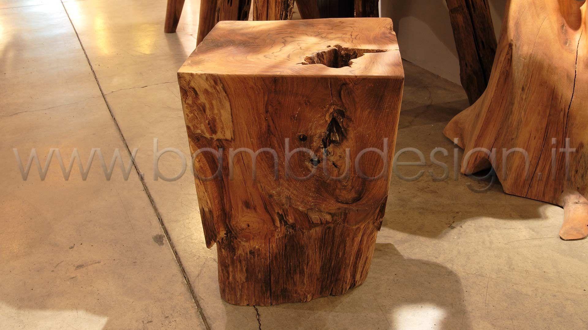 Sgabello in teak sfera diam h cm bambù design milano