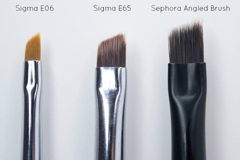 2e0ba80ee Angled liner brush comparison with the Sigma E06, Sigma E65 & a Sephora  angled brush.