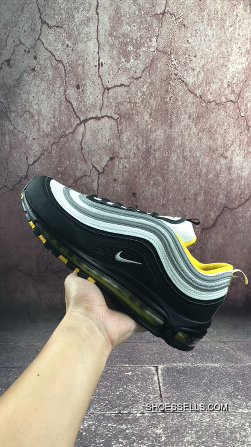 Nike Air Max 97 All Match Vintage Air Jogging Shoes Black Yellow White