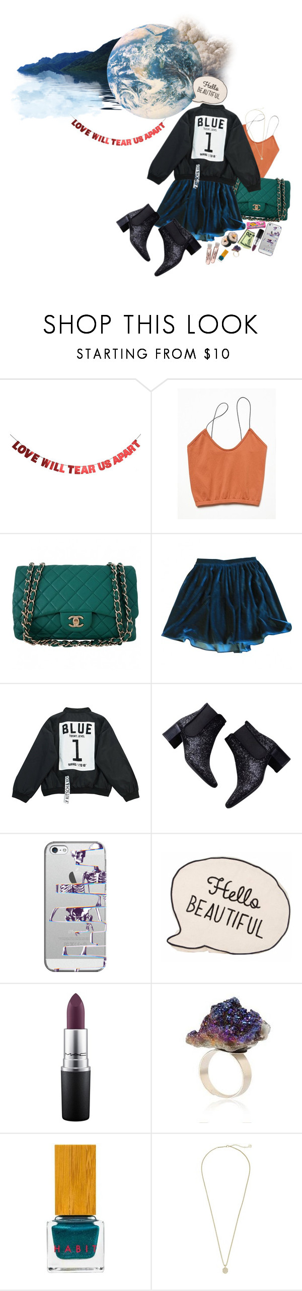 """""""Out of The Blue"""" by lady-wednesday ❤ liked on Polyvore featuring WALL, Free People, Chanel, American Apparel, Chicnova Fashion, Zara, Casetify, MAC Cosmetics, Habit Cosmetics and Kendra Scott"""