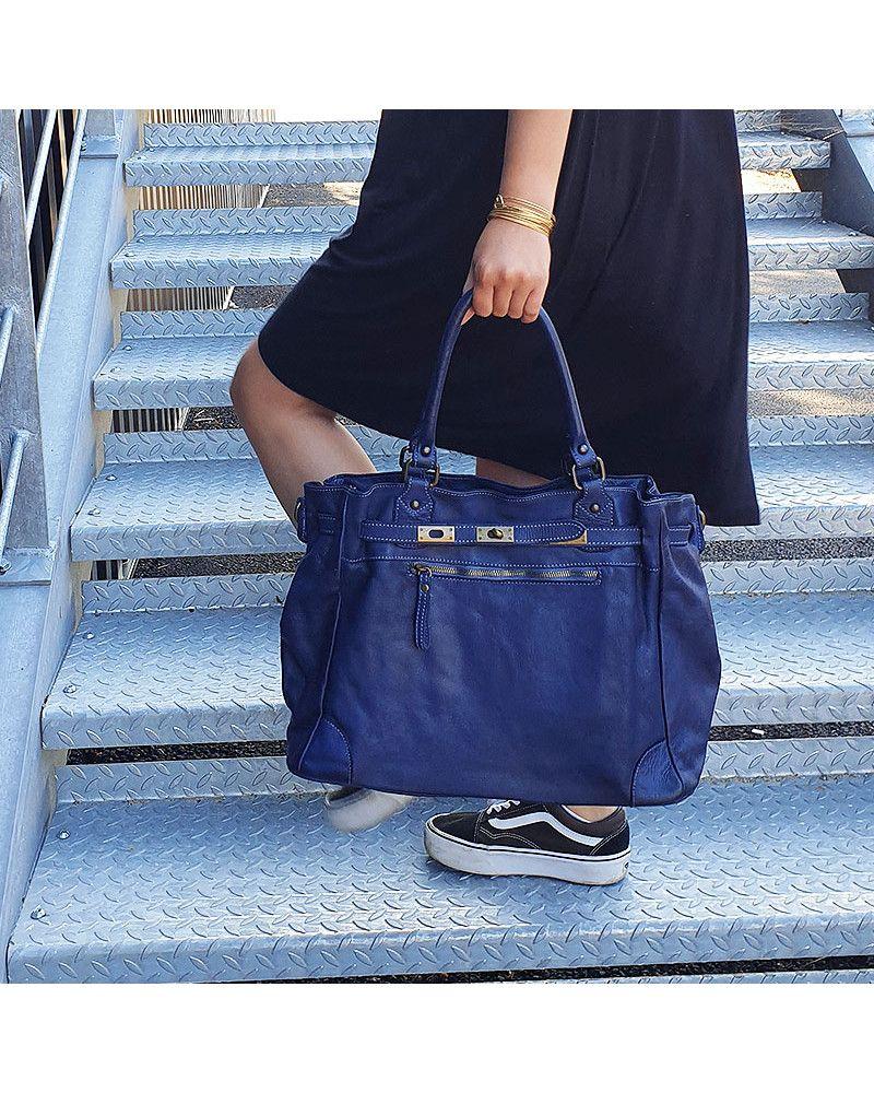 Sac à main cuir bleu marine effet vintage fabrication italienne en ...