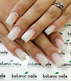 If you don't have a nice and lengthy nail, you can always get false nails and then to make it look more elegant, place some diamond crescent moon nails. It's simple but definitely stunning.