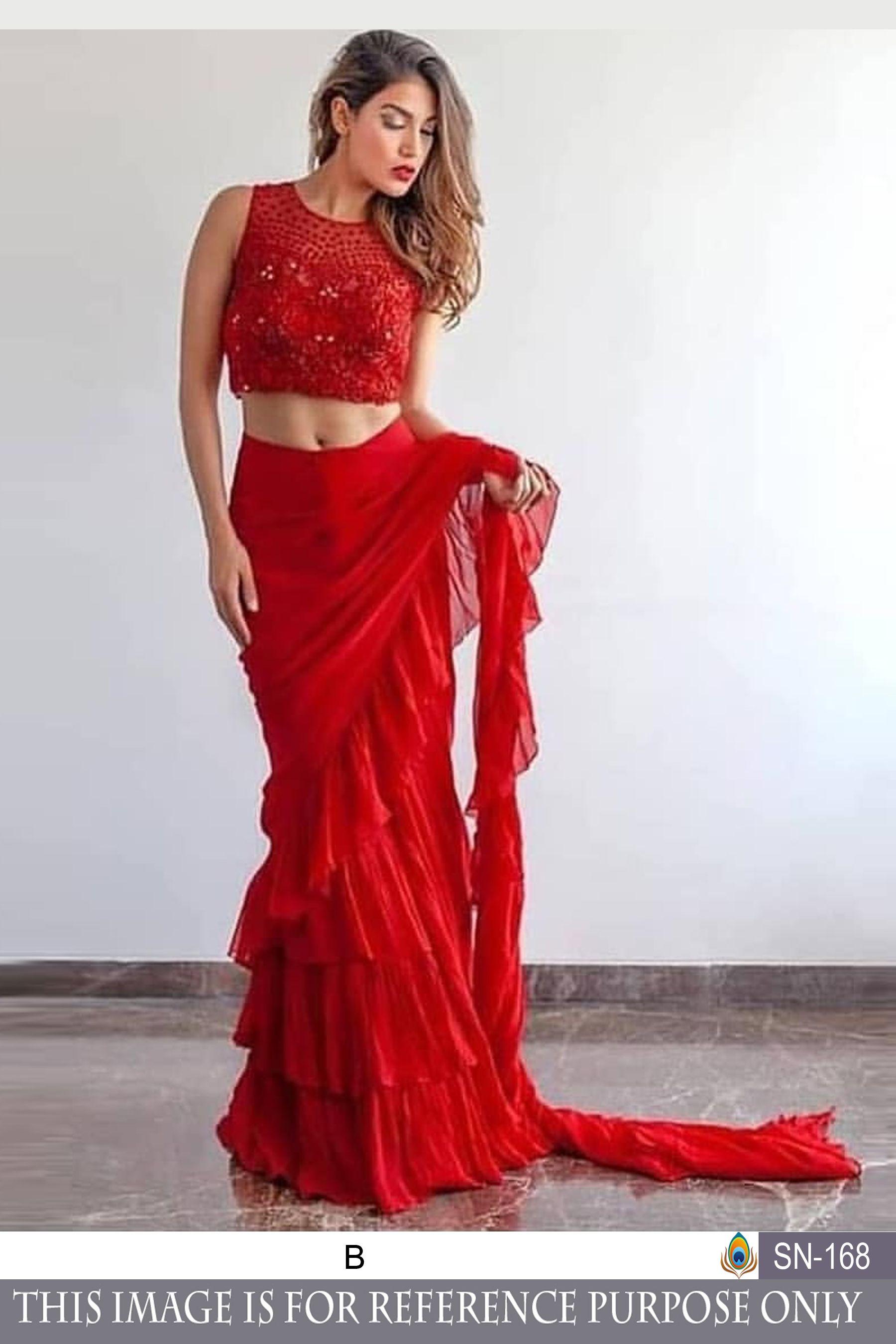 07d2917870e8b0 Bollywood Red Color Geroget Silk with Banglory Blose Branded saree in 2019  | Sarees For Wedding! | Saree gown, Saree dress, Saree