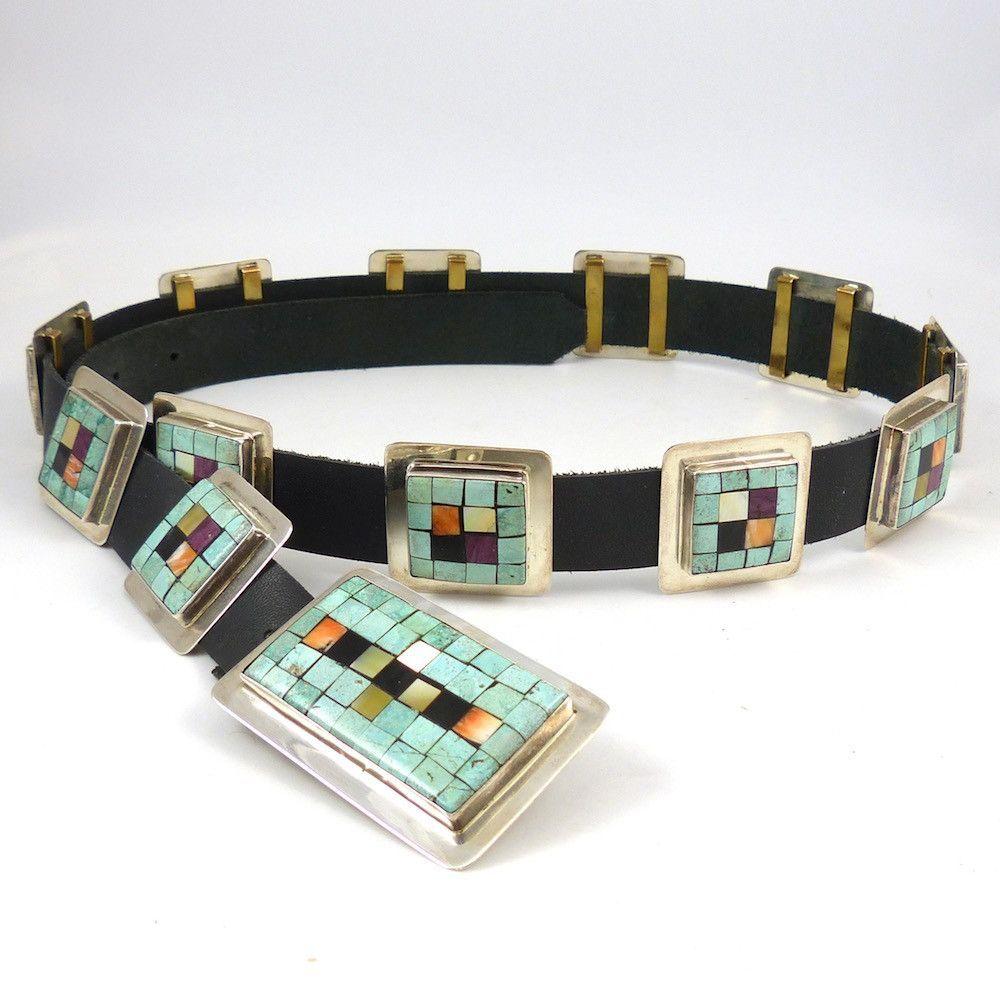 Mosaic Inlaid Concha Belt