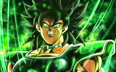 Download wallpapers Broly, green glare, Dragon Ball, fan