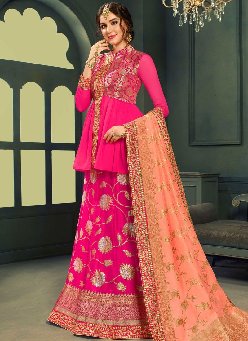 319644a0ba5e0b Gajri color silk Indian wedding lehenga choli 606 in 2019 | Bridal ...