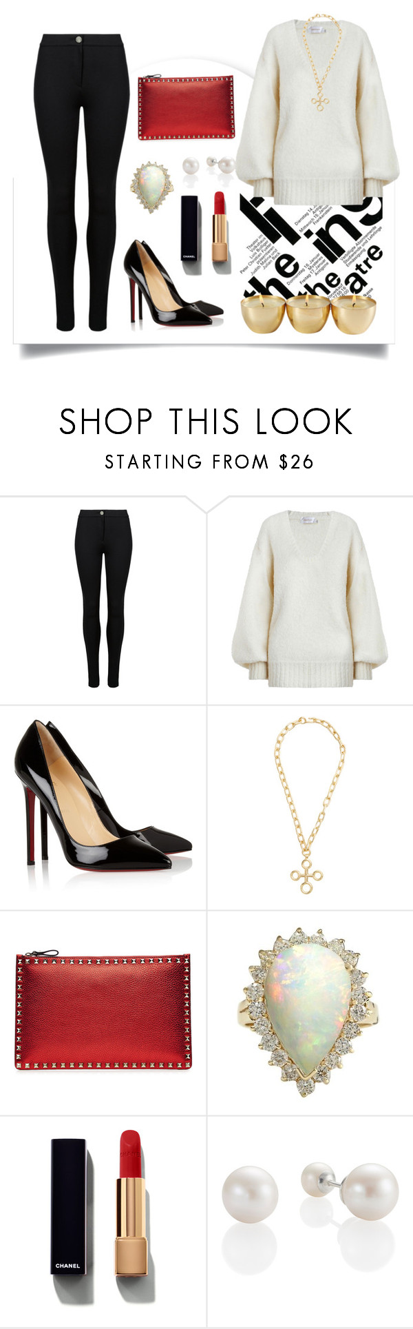 """#759"" by karol-andrade ❤ liked on Polyvore featuring M&S, Zimmermann, Christian Louboutin, Chufy, Valentino and Chanel"