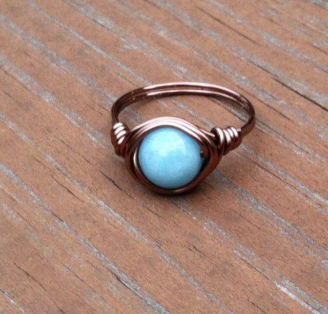 Larimar Quartz Copper Ring, Light Blue Ring, Larimar Quartz Stone Ring, Boho Hippie Rings by PazHappyCreations on Etsy