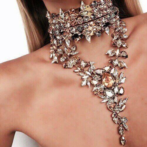 Fashion Femme Chaîne Pendentif Collier Choker Chunky Déclaration Cristal Bib Collier
