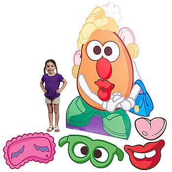 Our Giant Mrs. Potato Head Standee features the lovely spud with all her fun facial cutouts that you can attach with velcro.