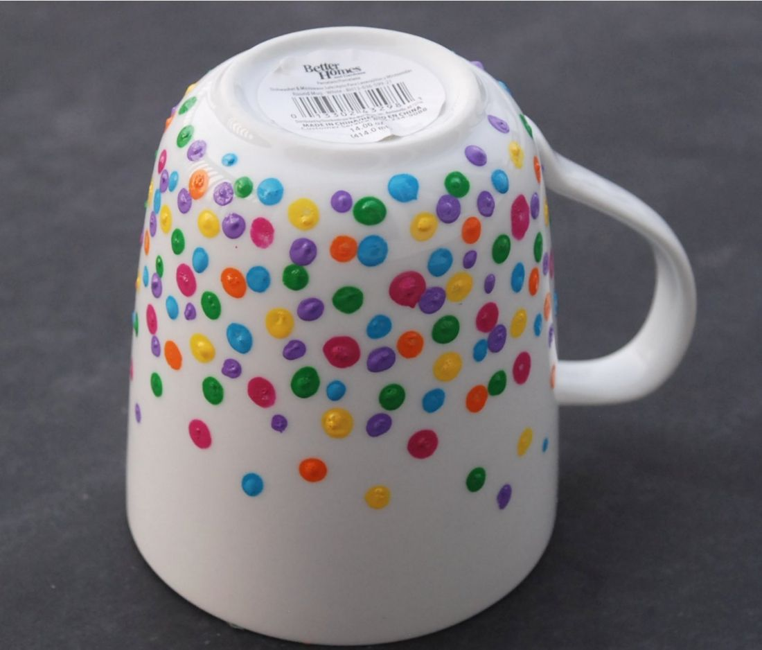 Diy polka dot mug enamel paint january crafts and craft for How to paint ceramic mugs at home