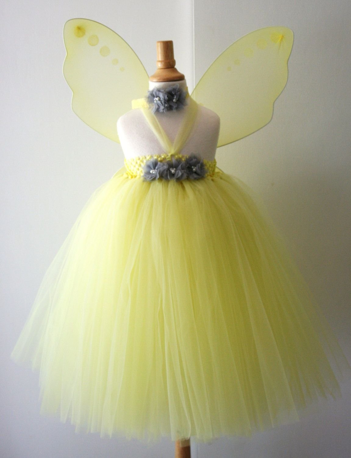 Yellow Gray Flower Girl Dress With Wing Option By Aydaandemilys