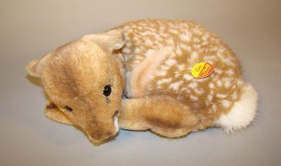 Vintage 1950's Steiff Lorli curled up Fawn speckled baby Deer Original Tag 13""