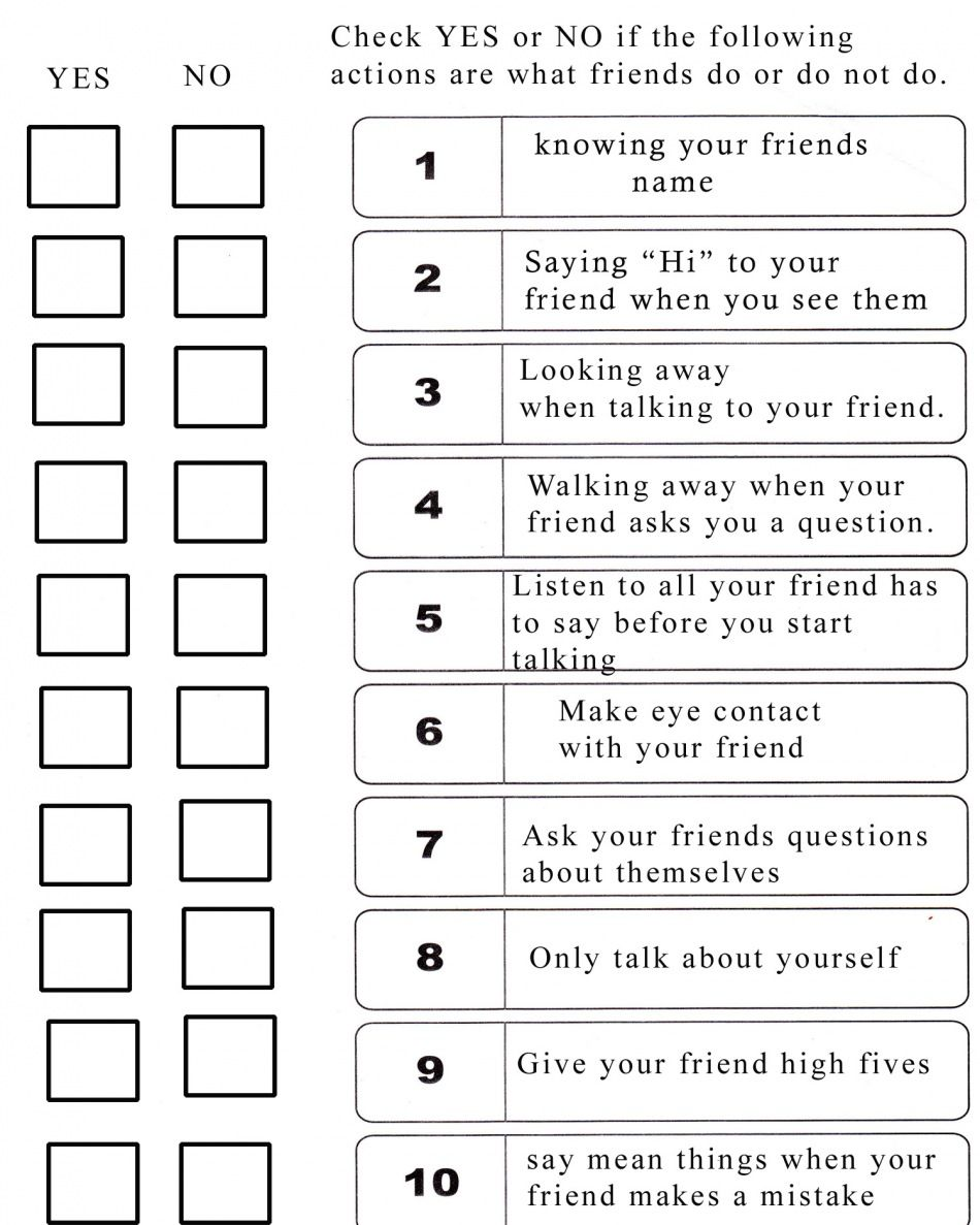 do you know how to be a good friend friendship school for pragmatic issues i know it seems sheldon esque but if you have a kid who learns social skills cognitively this checklist could be useful