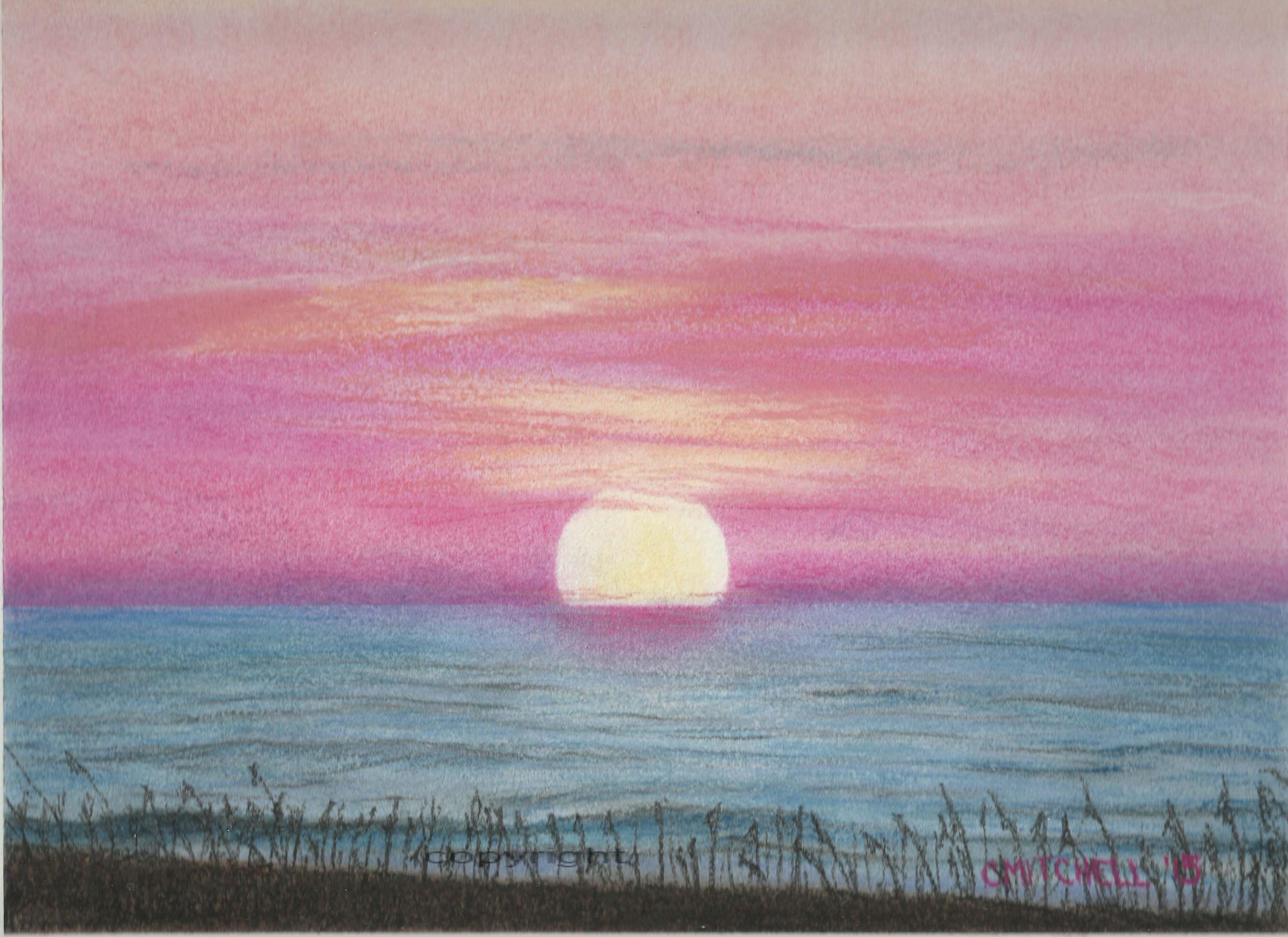 Малиновый закат картинки гуашью