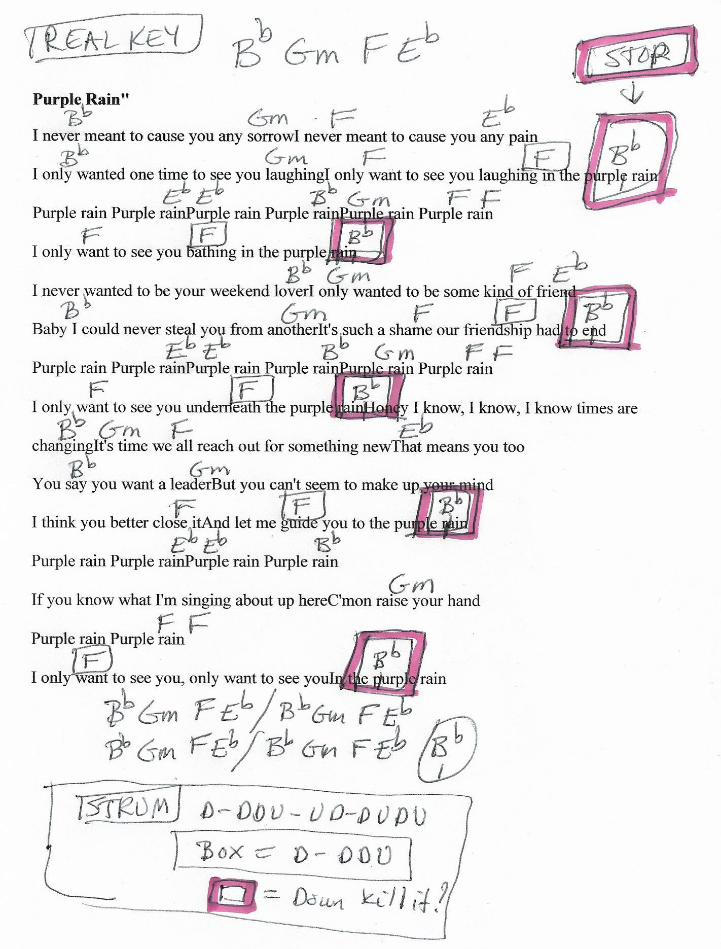 Purple Rain Prince Guitar Chord Chart In Bb Major Real Key Beginner How To Read Diagram D
