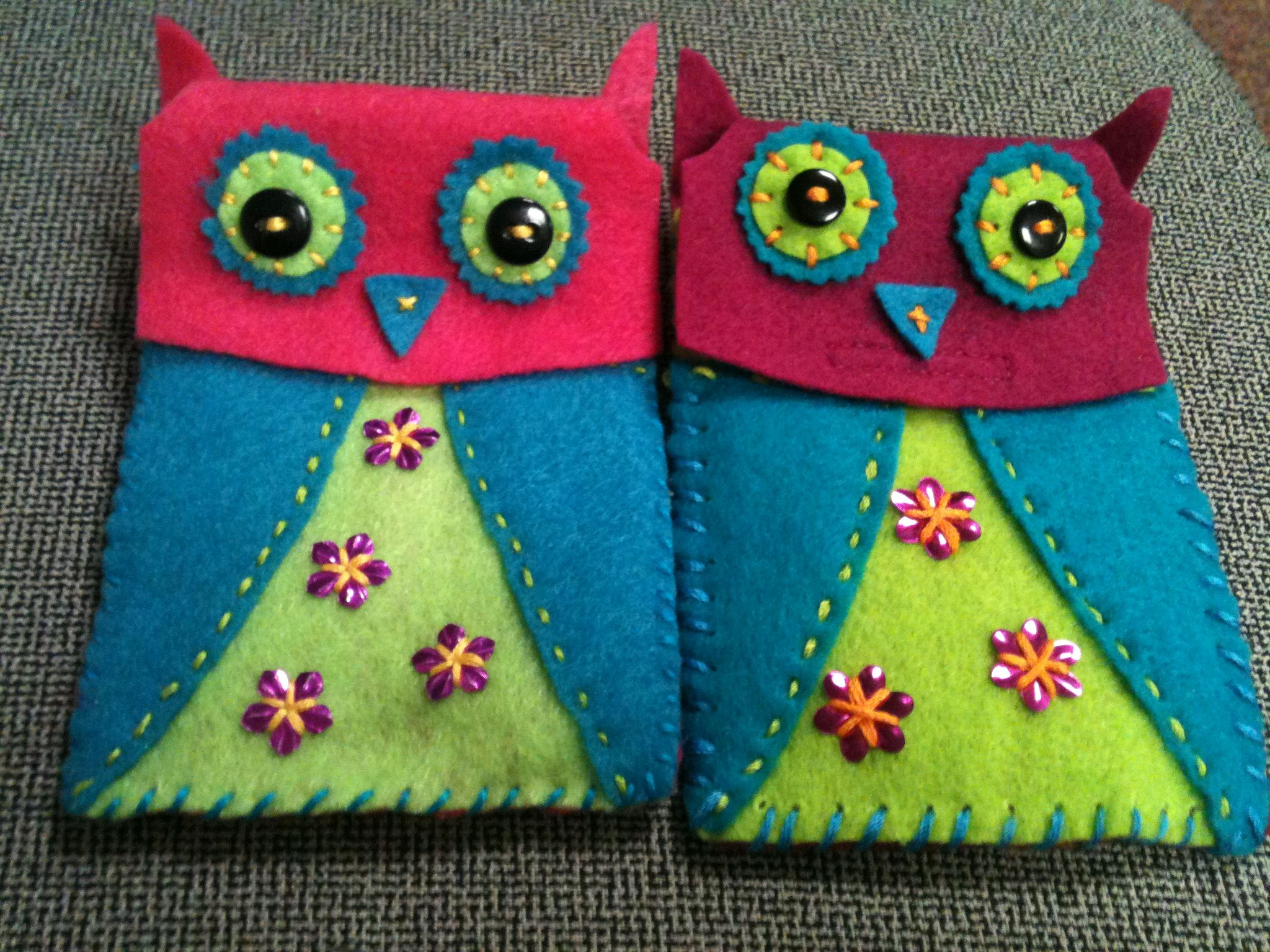 Felt owl iphone case right side is from a kit i bought at walmart
