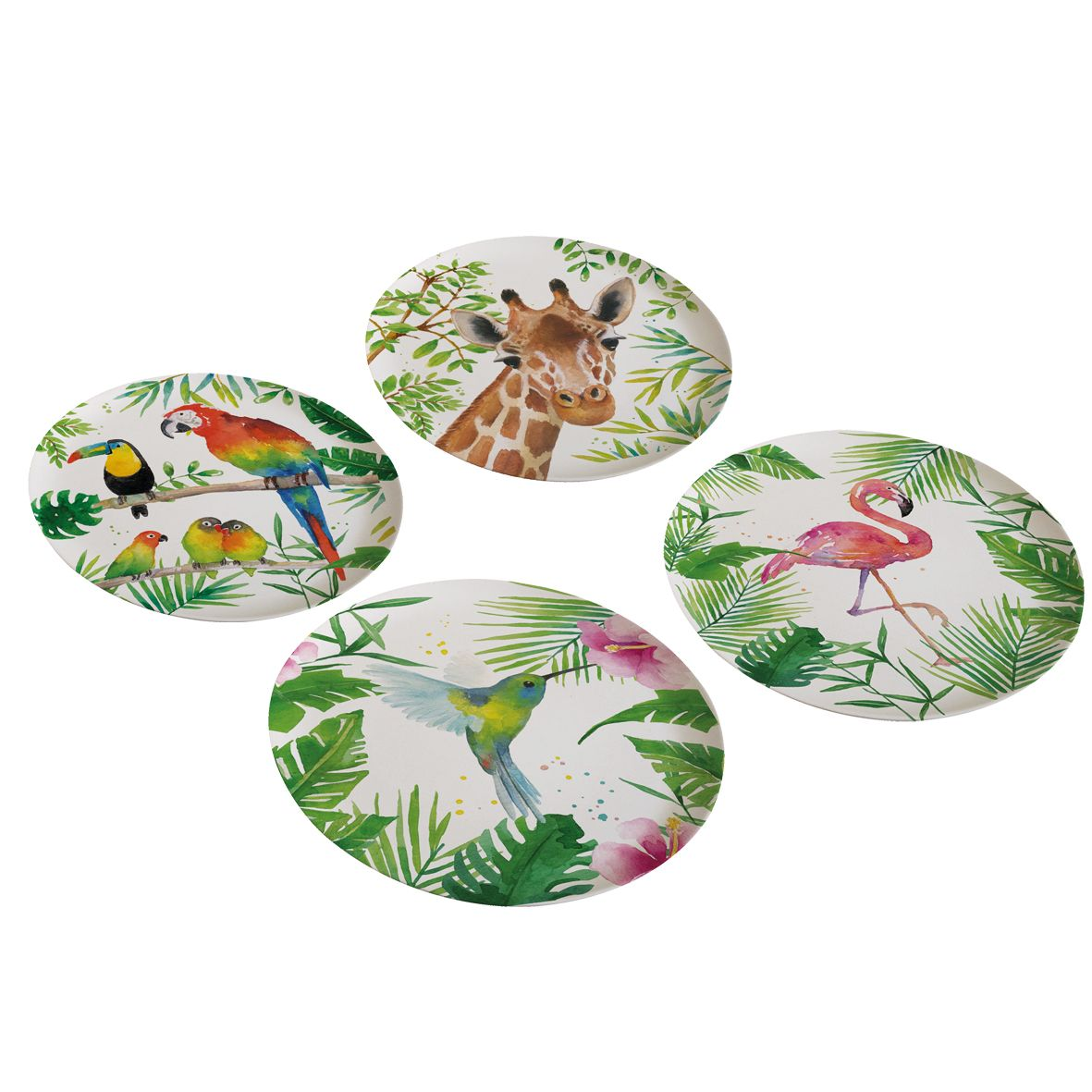 Bamboo Plates Tropical Set Of 4 Ppd Paperproductsdesign Plates
