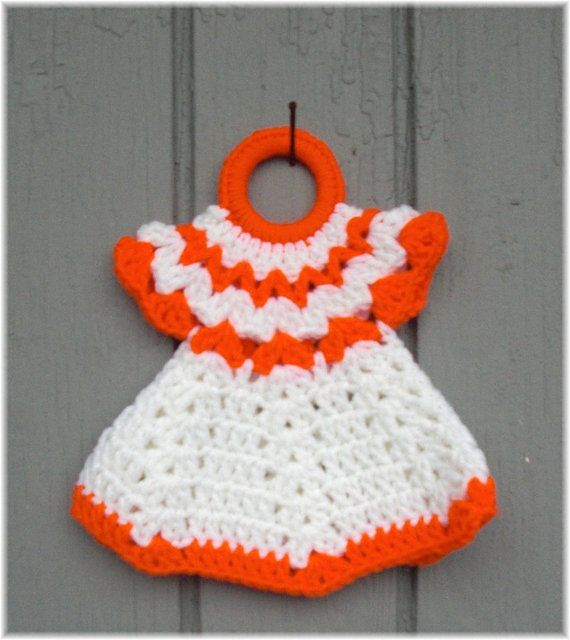 Doll Dress Pot Holder Kitchen Decor Retro Style Crochet Orange & White