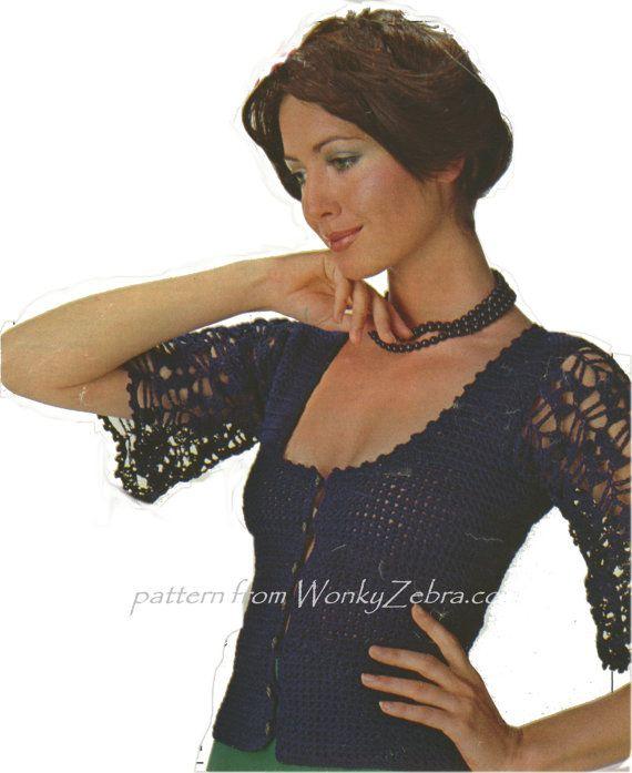 Patrón de ganchillo Vintage PDF 131 noche Top de WonkyZebra | blusas ...