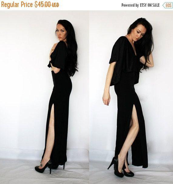 Two Thigh Slit Maxi Skirt / Black Floor Length Skirt