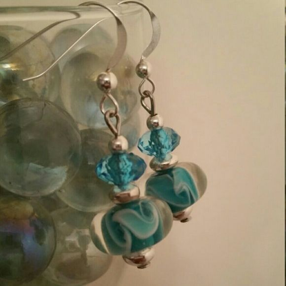 Teal Boro Glass Beads Earrings. Teal hand blown Boro Glass beads. Teal Swarovski crystal. Sterling silver Rondelle spacers, and ear wires. Jewelry Earrings