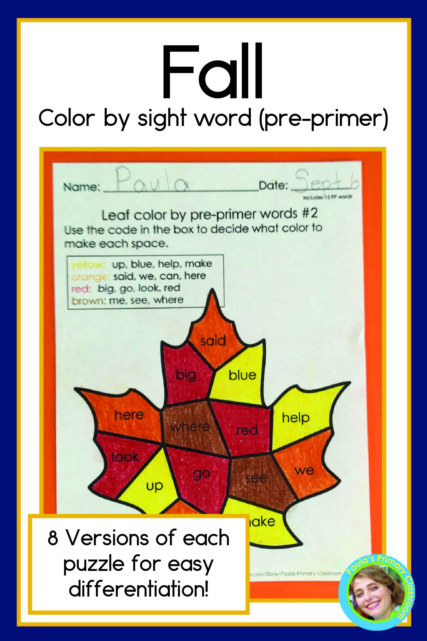 Fall Sight Words Pre Primer Level In