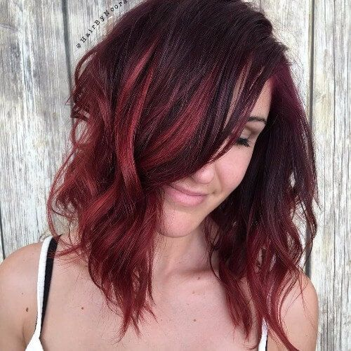 Image Result For Red Highlights On Dark Hairred