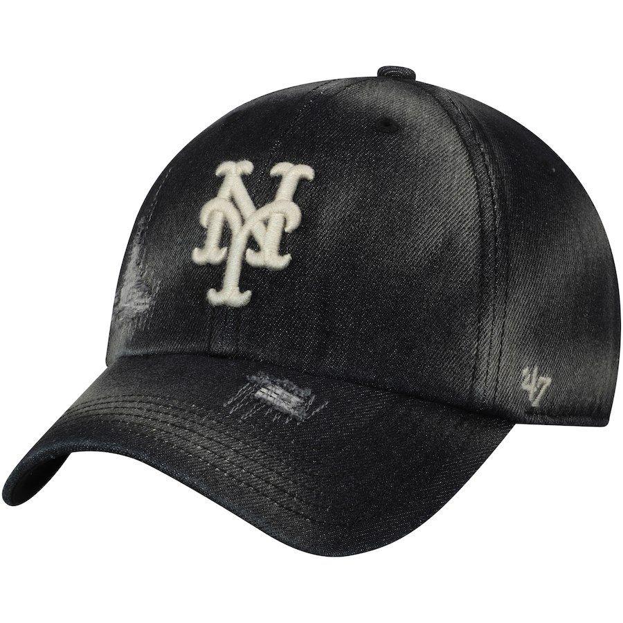 43be82ab2ec Men s New York Mets  47 Black Loughlin Clean Up Adjustable Hat