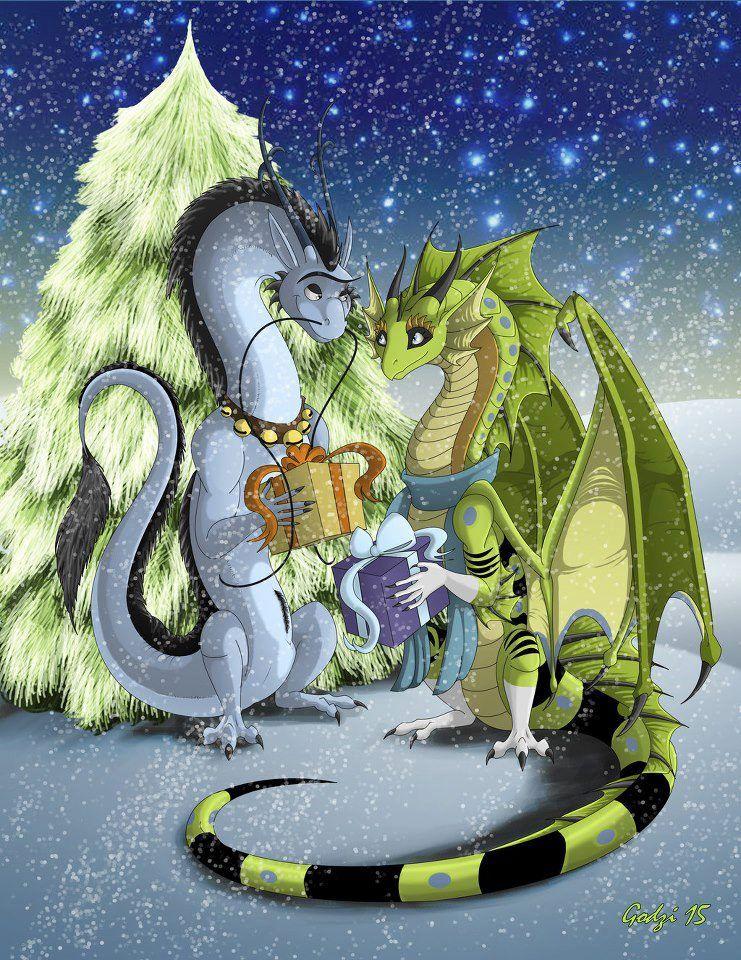 Новогодняя открытка драконом