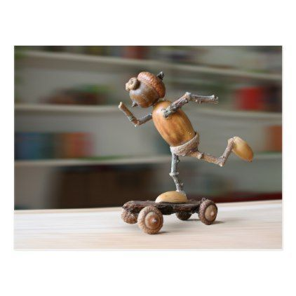 Acorn elf riding the skateboard postcard | Zazzle.com #travauxmanuelsnature