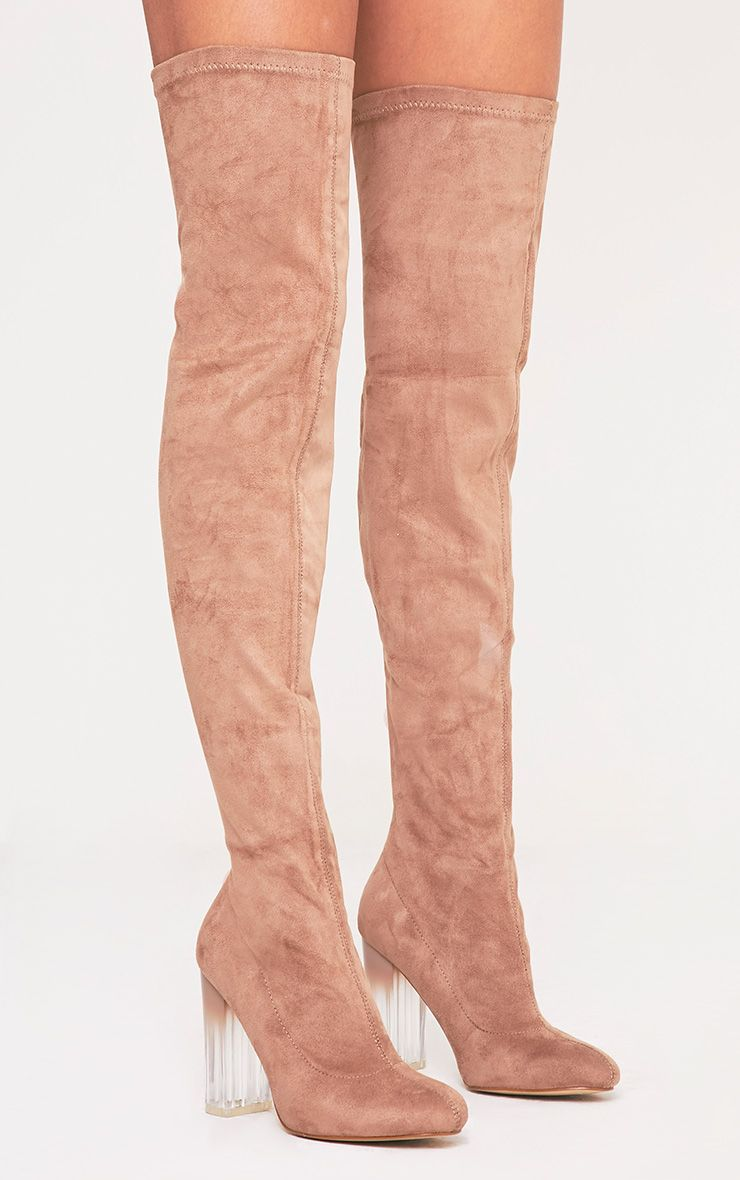 ece48031574 Fran Taupe Faux Suede Ombre Heel Over The Knee Boots | My style ...