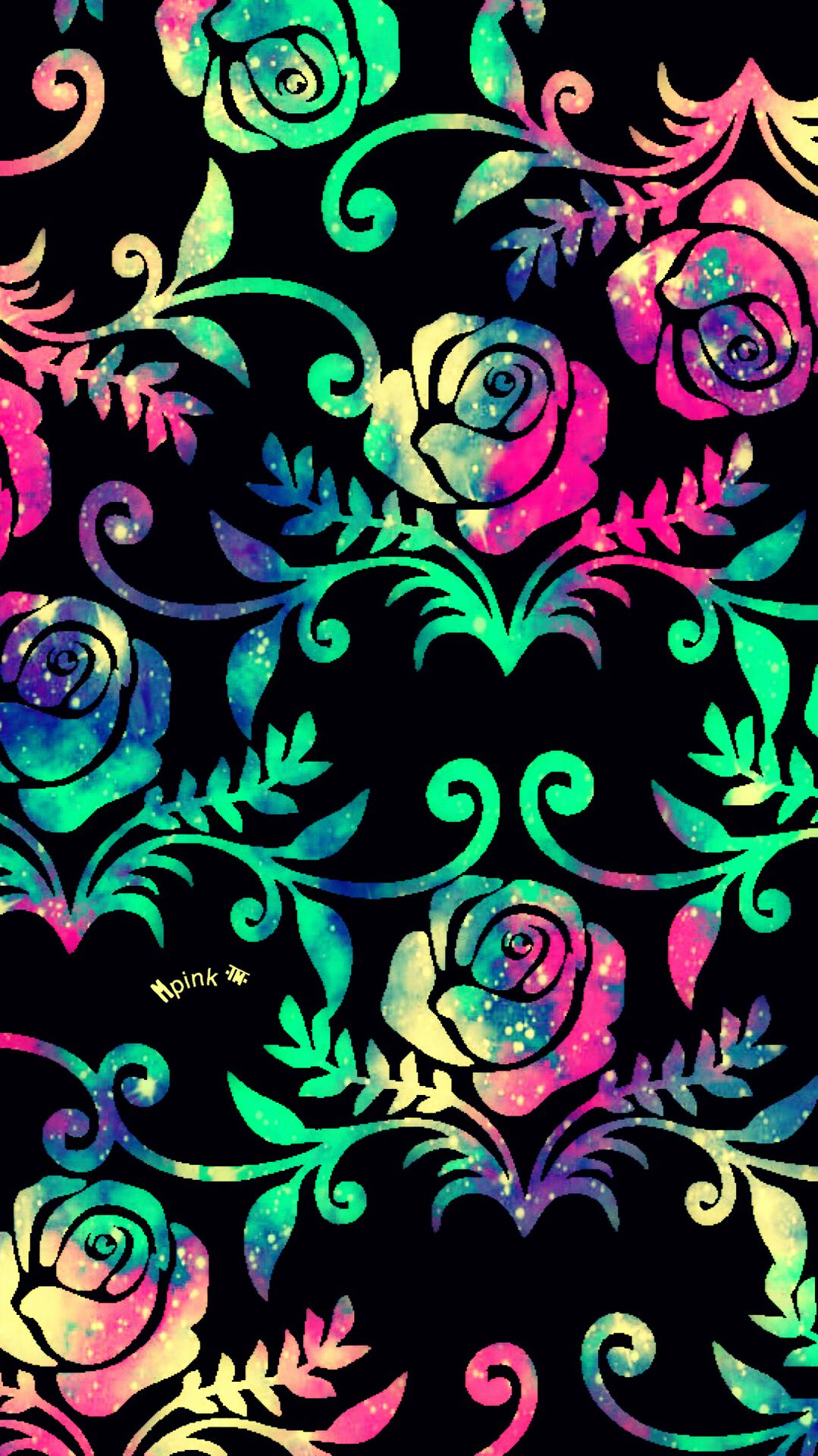 Rose Pattern Galaxy iPhone/Android Wallpaper I Created For The App Top Chart | Proyectos que ...