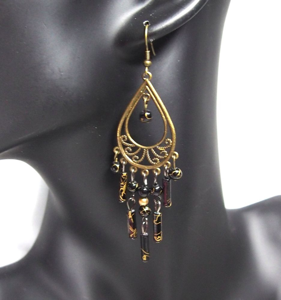 Lady Jewelry Sexy Vintage Chic-Street Cutout Bead Statement Drops Earring 280255 #DropDangle