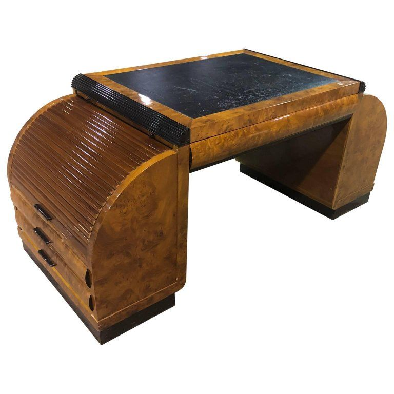 early 20th century burl wood art deco writing desk or vanity from a unique collection