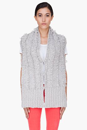 Marc By Marc Jacobs Grey Clipped Sweater Vest for Women   SSENSE