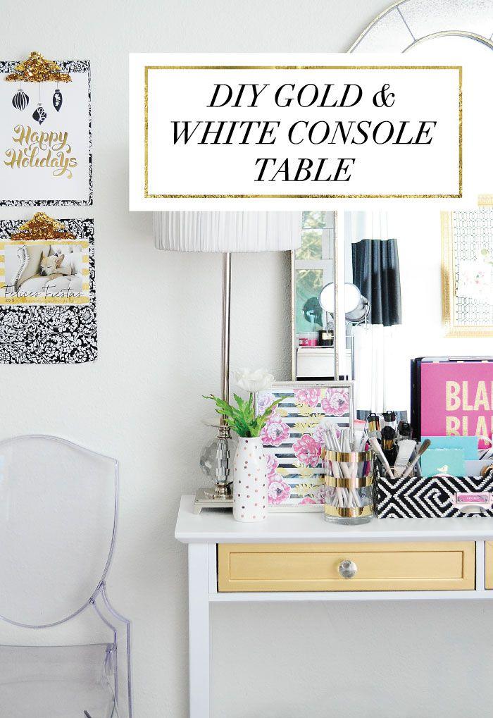 Gold U0026 White Console Table Furniture Makeover