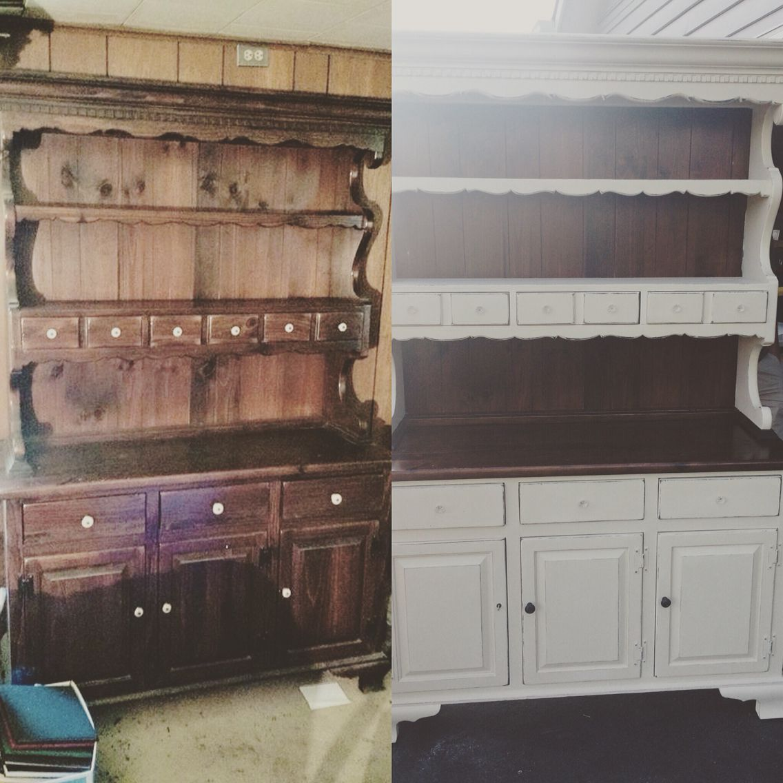 ethan allen old dark hutch turned to new with annie sloan old ochre chalk paint unsere wohnung. Black Bedroom Furniture Sets. Home Design Ideas