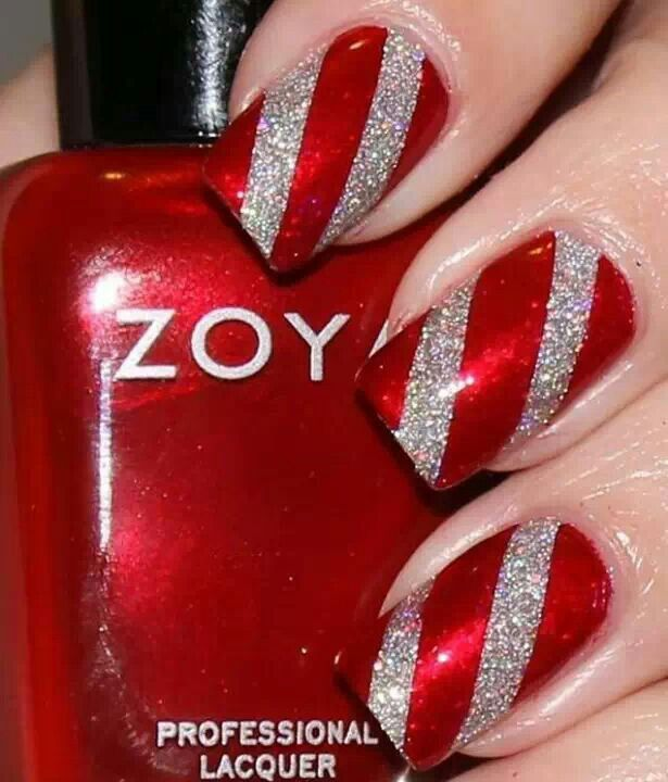 Candy apple red silver glitter nails pinterest candy redsilvercandy cane nailsso cute prinsesfo Image collections