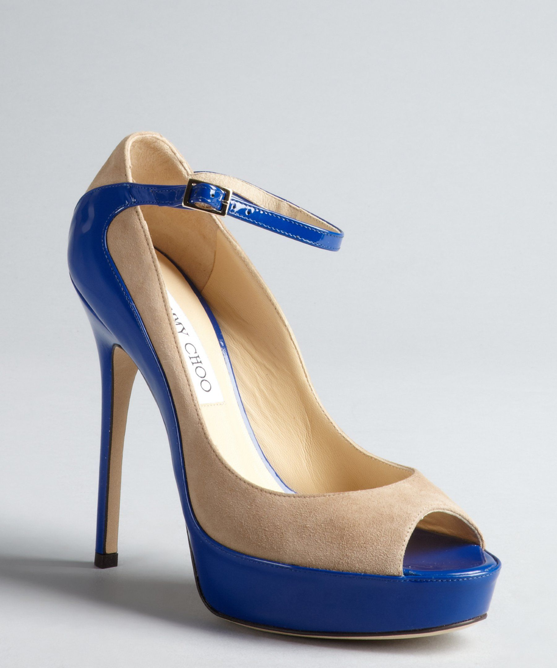 c493de193247 Jimmy Choo nude suede and blue patent leather peep toe  Tami  pumps ...