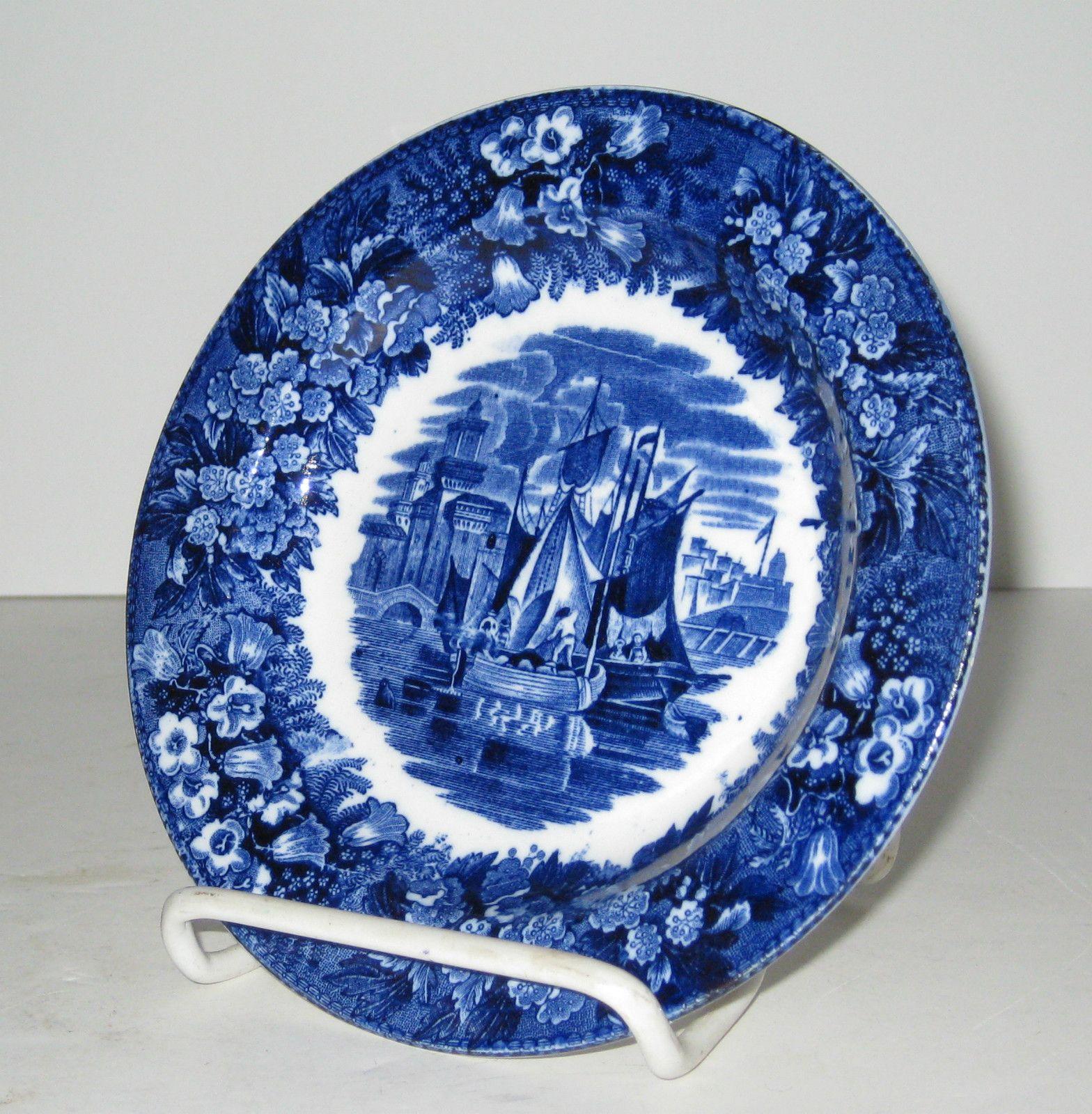 Wedgwood Etruria Ferrara Blue White Transferware Plate C