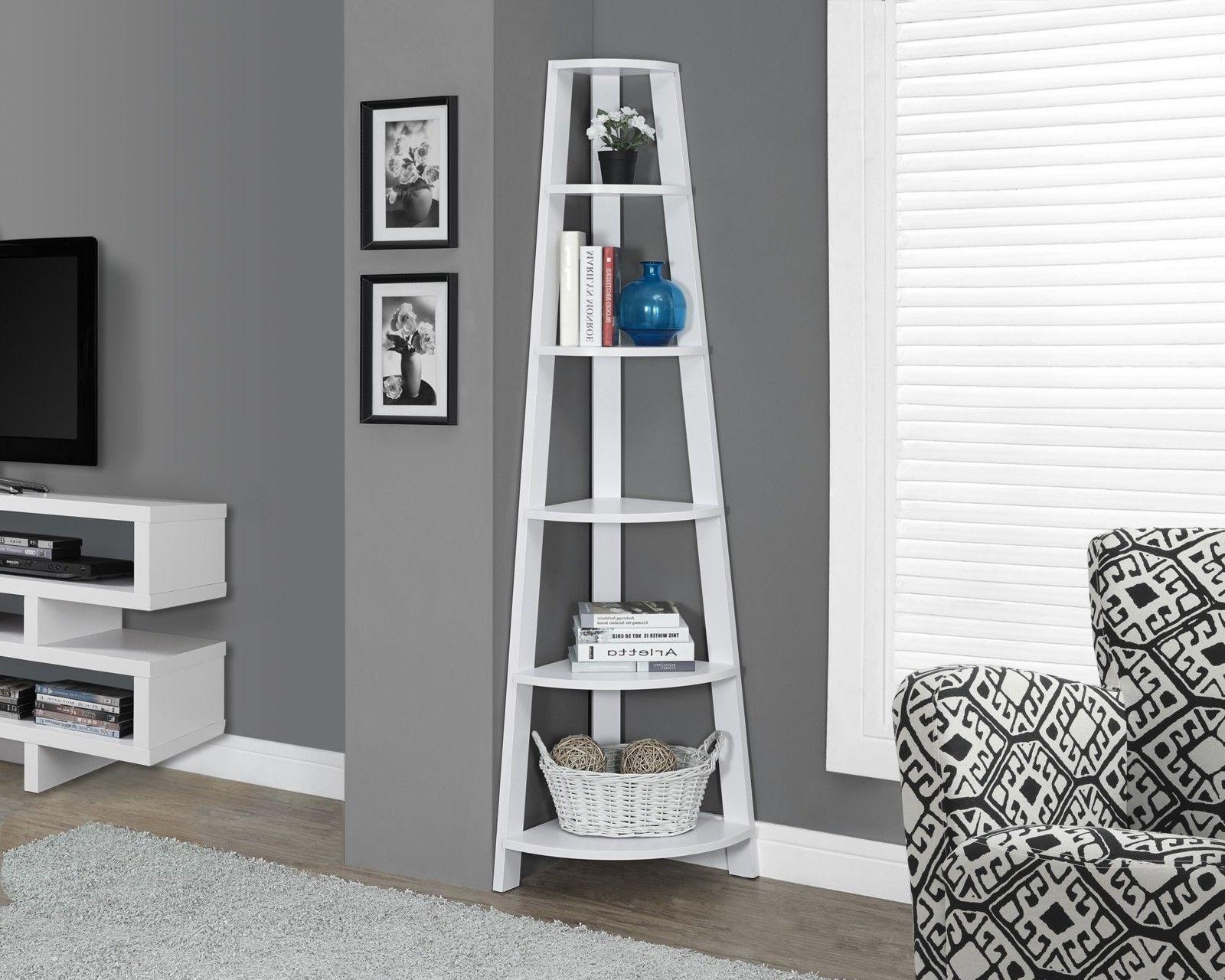 tier wooden corner shelf inch tall ladder shelves book case